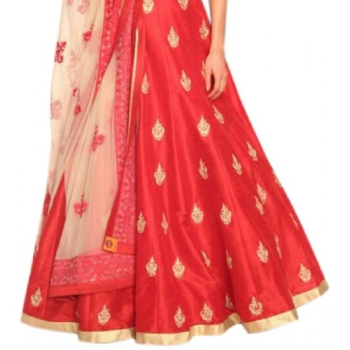Sanjana Red-White Banglori Anarkali Style Gowan Dress Material