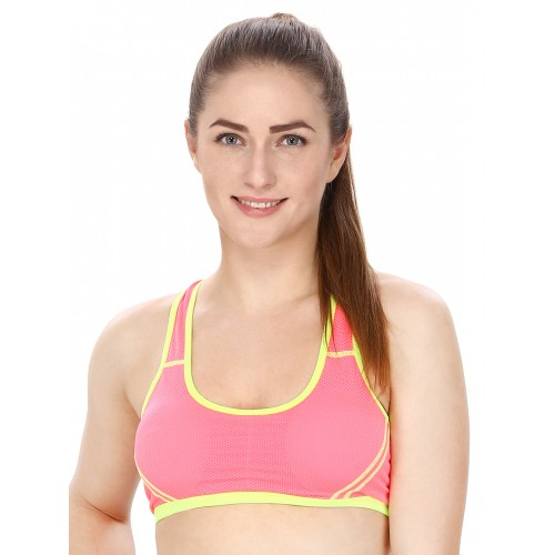cf92a464dfbd2 ... Secret Wish Pink Solid Non-Wired Lightly Padded Sports Bra 2088 ...