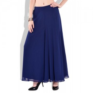 just wow solid navy blue polygeorgette flare pants