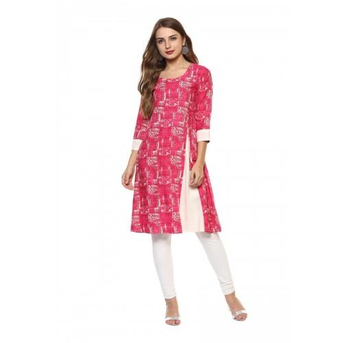 56c1d08b96d Buy Printed Knee Length A-line Pink Cotton Short Kurta with Slit ...