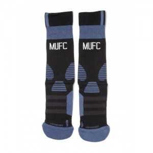 Adidas Unisex Black MUFC TRG Patterned Above Ankle-Length Football Socks