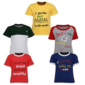 Goodway Boys Pack of 5 Mom and Dad Theme Printed T-shirts(JB5PCKM&D-4_MultiColor)