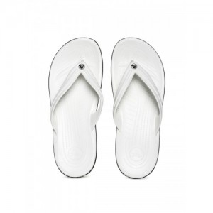 Crocs White Synthtic Rubber Flip Flops