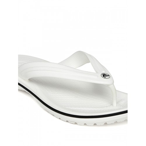 Crocs White Synthtic Rubber Flip Flops