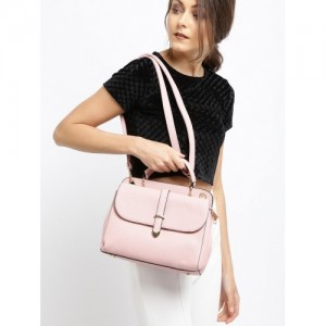 DressBerry Pink Polyurethane Solid Satchel Bag