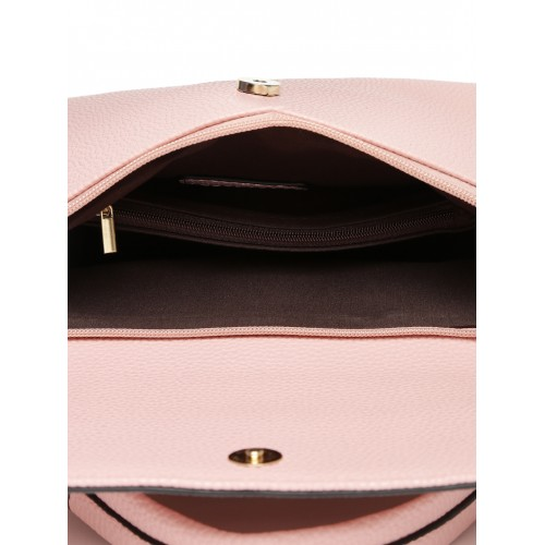 DressBerry Pink Polyurethane Solid Satchel Bag