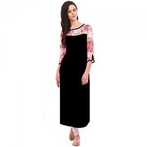 Desi Knots Women's Black-Floral-3-slash-4th-Sleeve-kurti