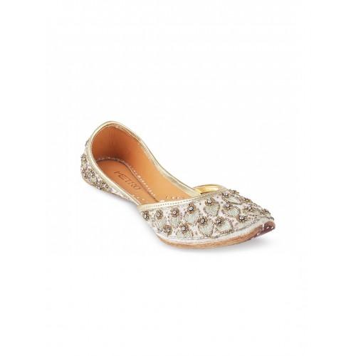 cea4ae039 Buy Metro Women Gold-Toned   Off-White Embellished Mojaris online ...