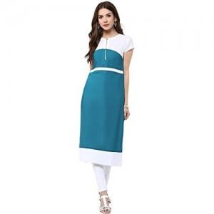Janasya Women's Blue Casual Crepe Kurti