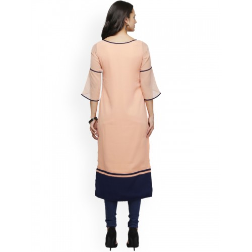 Ojjasvi Peach Solid Straight Kurta