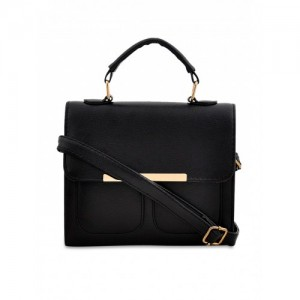 Mark & Keith Black Solid Satchel