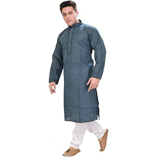 Exotic India Man's Kurta Pyjama with Woven Checks and Embroidery on Neck