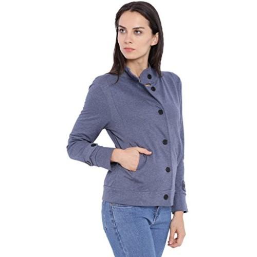 Campus Sutra Women Denim High Neck Jacket