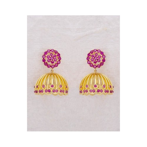 3101817c8 Buy Voylla Floral Pink Cz Swarnam Jhumka Earrings online | Looksgud.in