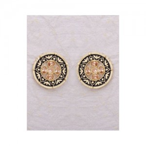 Voylla Classy Gold Plated Stud Earrings With Black Enameling