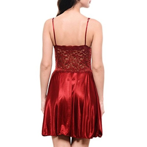 Klamotten Red Satin Babydoll Dress with Lacework