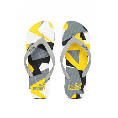 Puma Unisex Grey & Yellow Printed Sam DP Flip-Flops