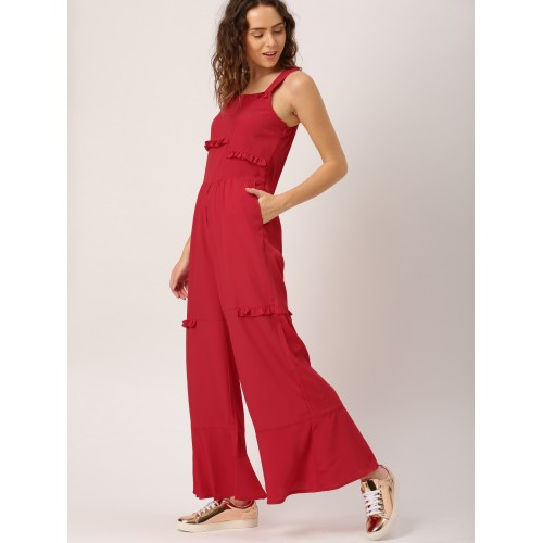 ce1b2cf6c37 DressBerry Red Solid Basic Jumpsuit  DressBerry Red Solid Basic Jumpsuit ...