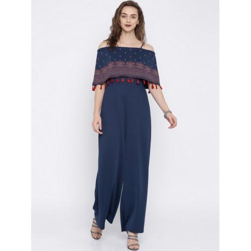 72180eaacbd0 Buy Global Desi Navy Blue Printed Basic Jumpsuit online