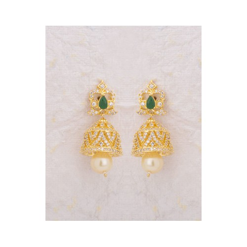 707c428bc Buy Voylla Tiny Jhumka Earrings With Pearls And Cz online | Looksgud.in