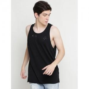FOREVER 21 Black Solid Round Neck Sleeveless T-shirt