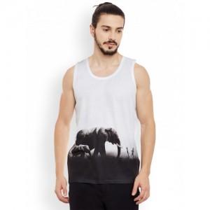 Wear Your Mind White & Black Printed Round Neck T-shirt