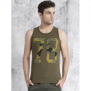 Roadster Olive Green Printed Round Neck T-shirt