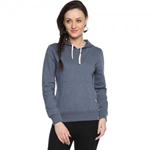 Campus Sutra Gray Cotton Hoodie