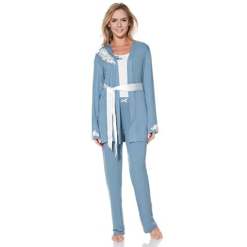 Buy Luisa Moretti Powder Blue/Cream Dressing Gown Set online ...