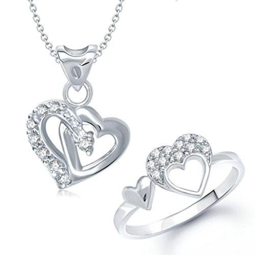VK Jewels Double Heart Shape Combo Ring & Pendant