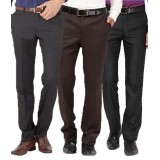 Gwalior Premium Formal Trousers Pack of 3- Grey, Blue, Brown