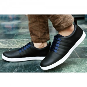 Baton Black Synthetic Lace-up Smart Sneakers