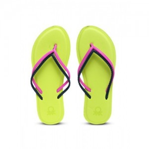 United Colors of Benetton Parrot Green Synthetic Flip-Flops