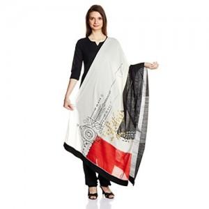 W for Woman White Cotton Printed Dupatta