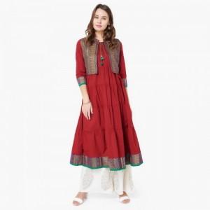 MAX Printed Three-Quarter Sleeves Anarkali Kurta With Jacket