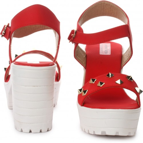 London Steps Red Synthetic Sandal