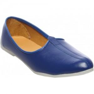 Zappy Blue Nubuck Leather Slip On Mojaris
