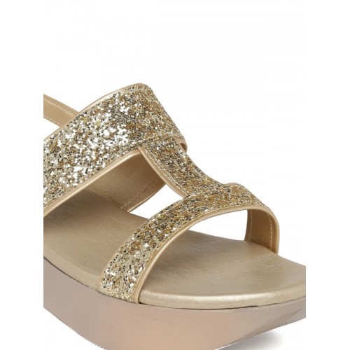 Bruno Manetti Golden Synthetic Leather Sandals