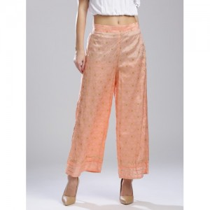 W Women Peach-Coloured & Golden Printed Wide Leg Palazzos