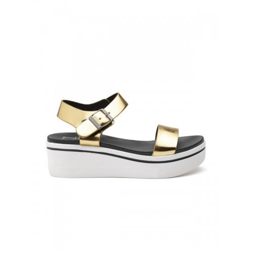 Carlton London Metallic Golden Sandals