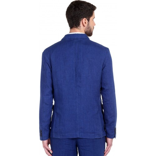 Jack & Jones Blue Linen Solid Single Breasted Casual Blazer