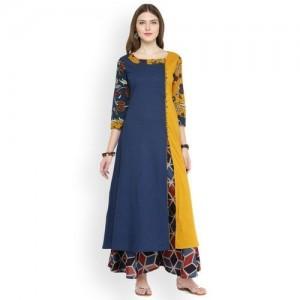 Varanga Women Blue & Mustard Colourblocked A-Line Kurta