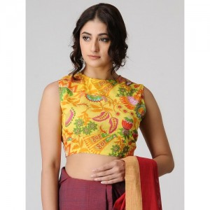 JAYPORE Yellow Printed Cotton Blouse