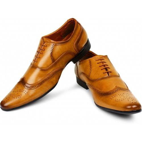 BUWCH Tan Brogue Lace Up Formal Shoes