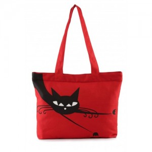 Vivinkaa Red Canvas Cat Print Tote