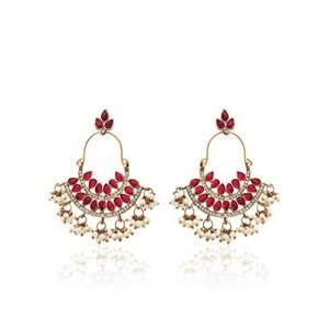 Zaveri Pearls Pink & White Metal Drop Earrings For Women (ZPFK1194)