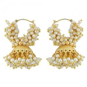 Muchmore Brass Jhumki Earrings For Girls And Women (White)
