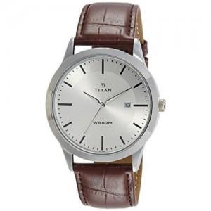 Titan Brown Round Leather Analog Watch
