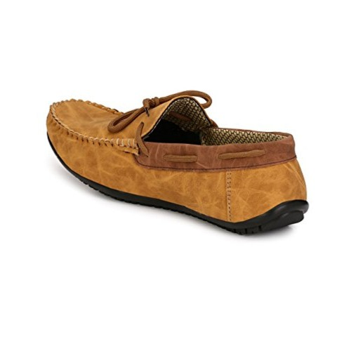 Knoos Men's Synthetic Leather Tan Loafers (BOB1010-TAN)
