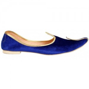 Sunlife Mehta'S Blue Fabric Slip On Mojaris